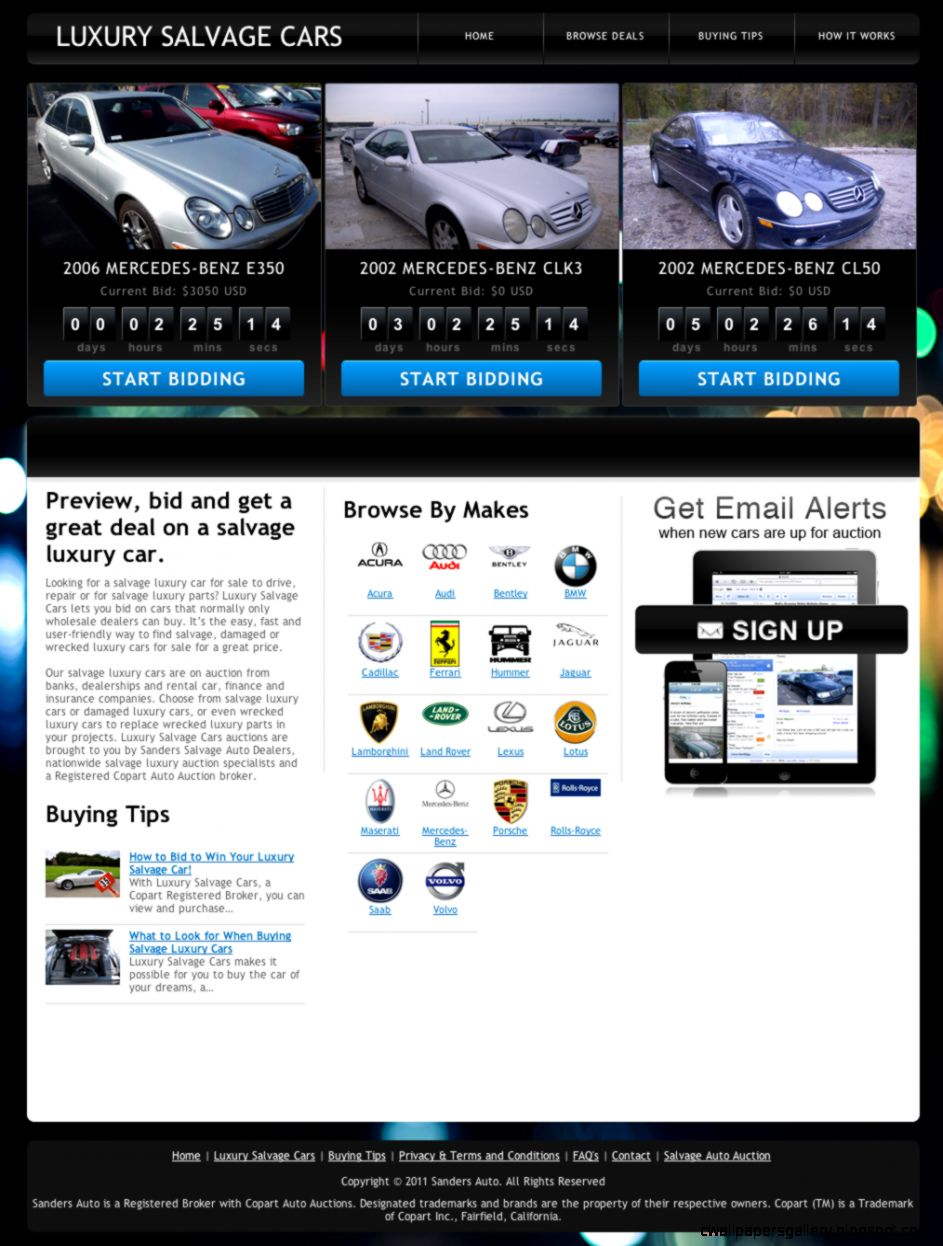 Salvage Luxury Cars for Sale Auction Parts Wrecked Damaged