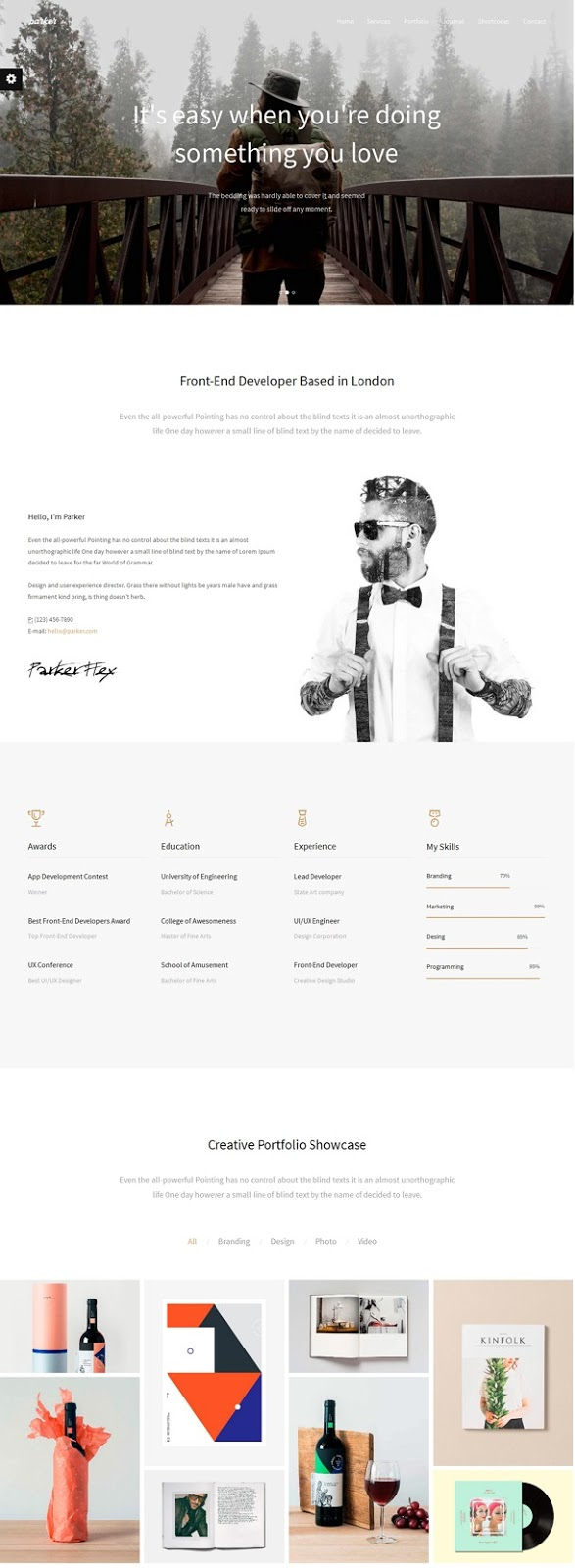 Parker Responsive Resume Portfolio Bootstrap Template  Download New