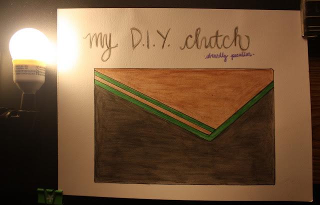 DIY, no, sew, leather, clutch, leather clutch