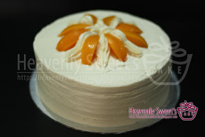 Snowy Peach Cream Custard Cake