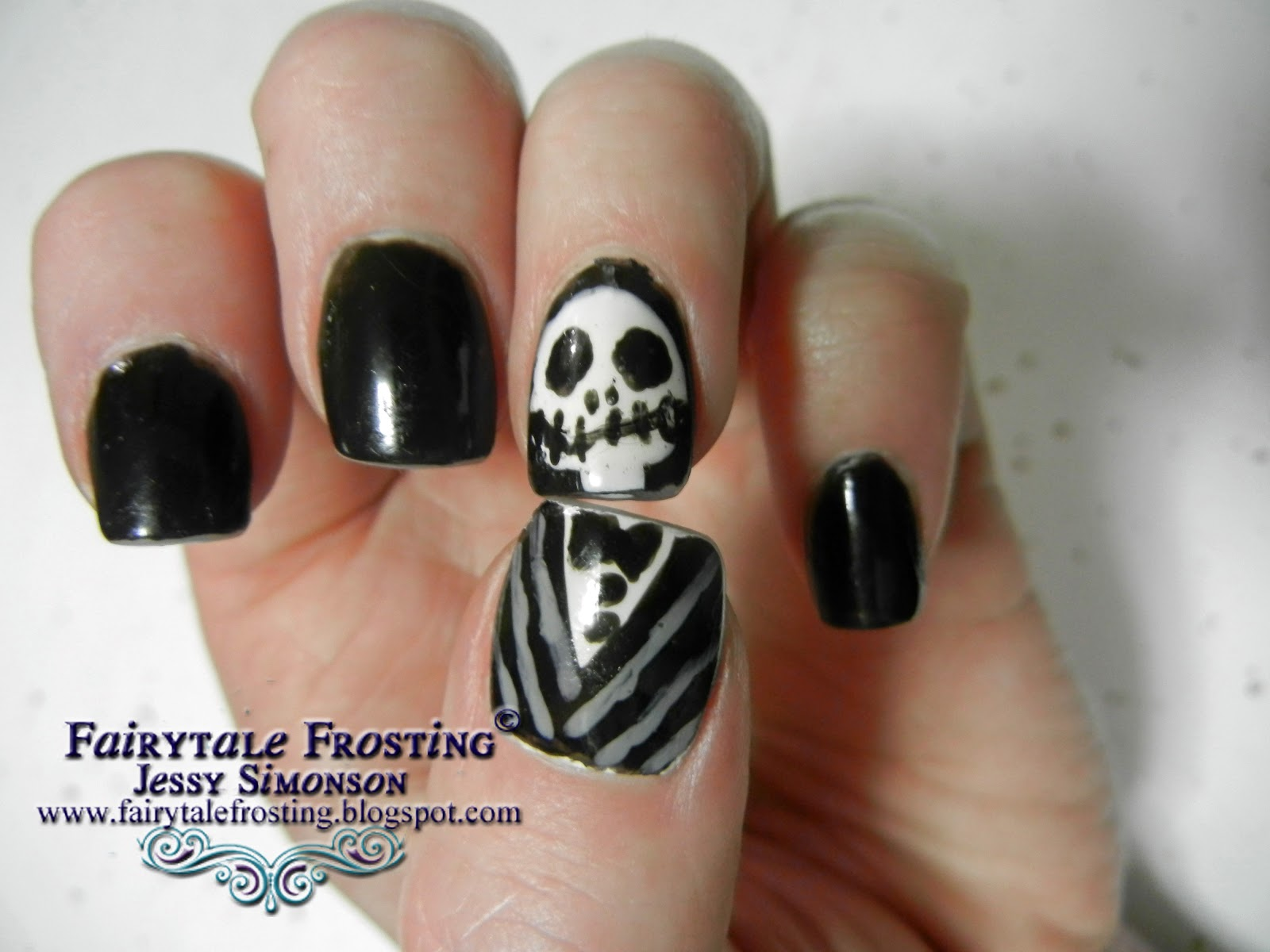 Fairytale Frosting: Jack Skellington Nails
