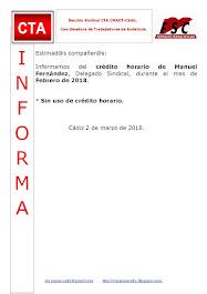 C.T.A. INFORMA CRÉDITO HORARIO MANUEL FERNÄNDEZ, ENERO 2018