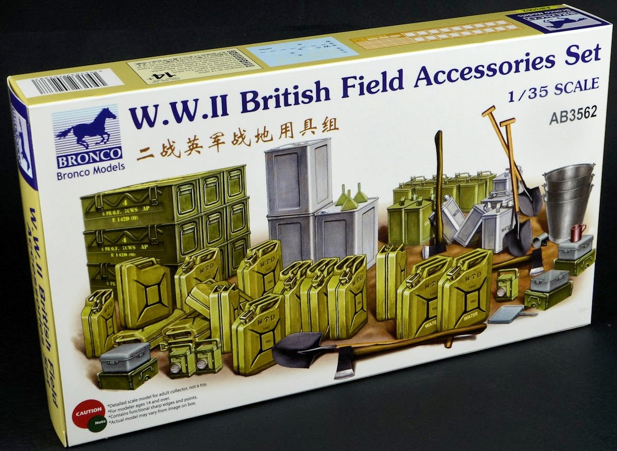 Bronco 1/35th scale WW2 British Field Accessories Set in review & construction...