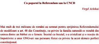 Virgil Achihai 🔴 COMUNICAT: Cu poporul la Referendum sau la CNCD