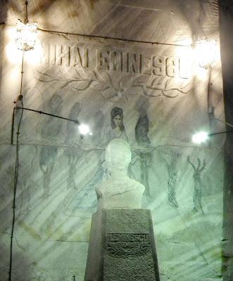 Mihai Eminescu bust and paint on salt, Unirea Salt Mine, Slanic Prahova