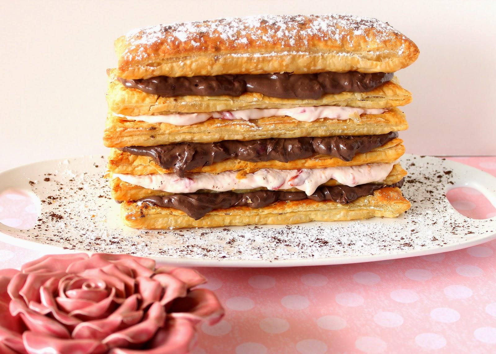Chocolate Cherry Cream Pastry Tower via Kudos Kitchen by Renee