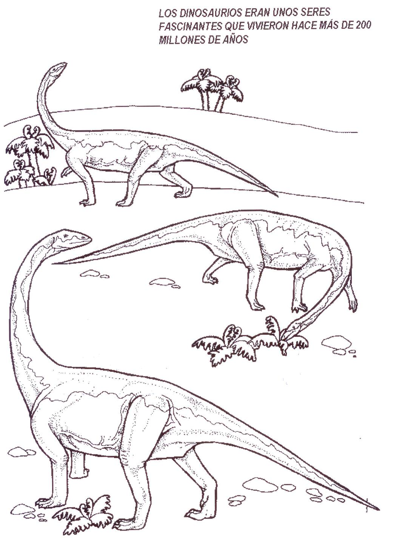 Dinosaurios para colorear: Dinosaurios en manada