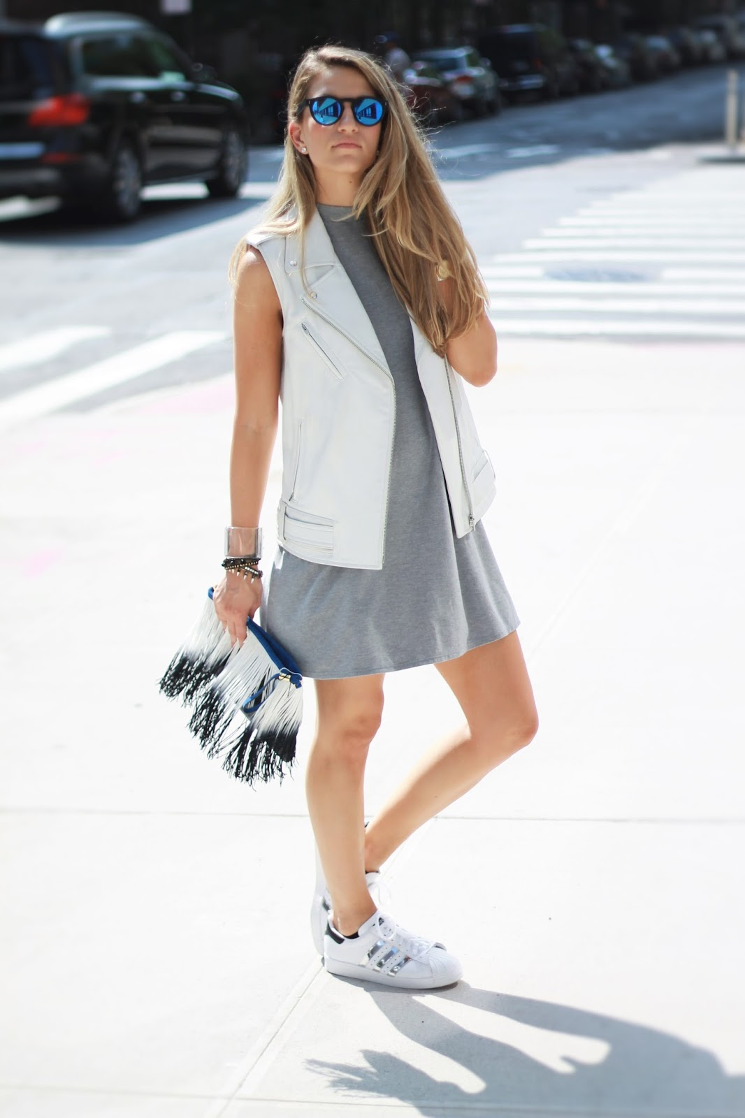 high neck dress, white moto vest, dressed for dreams