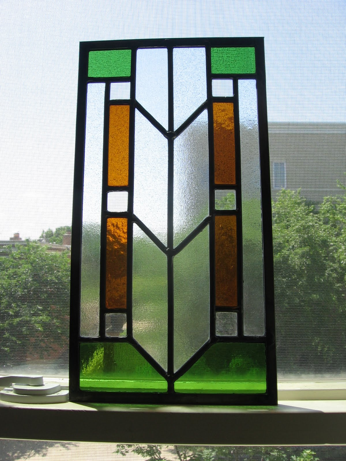 Needle and spatula prairie style stained glass for Window glass styles