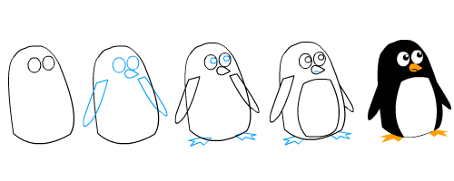 How To Draw A Cartoon Penguin - YouTube