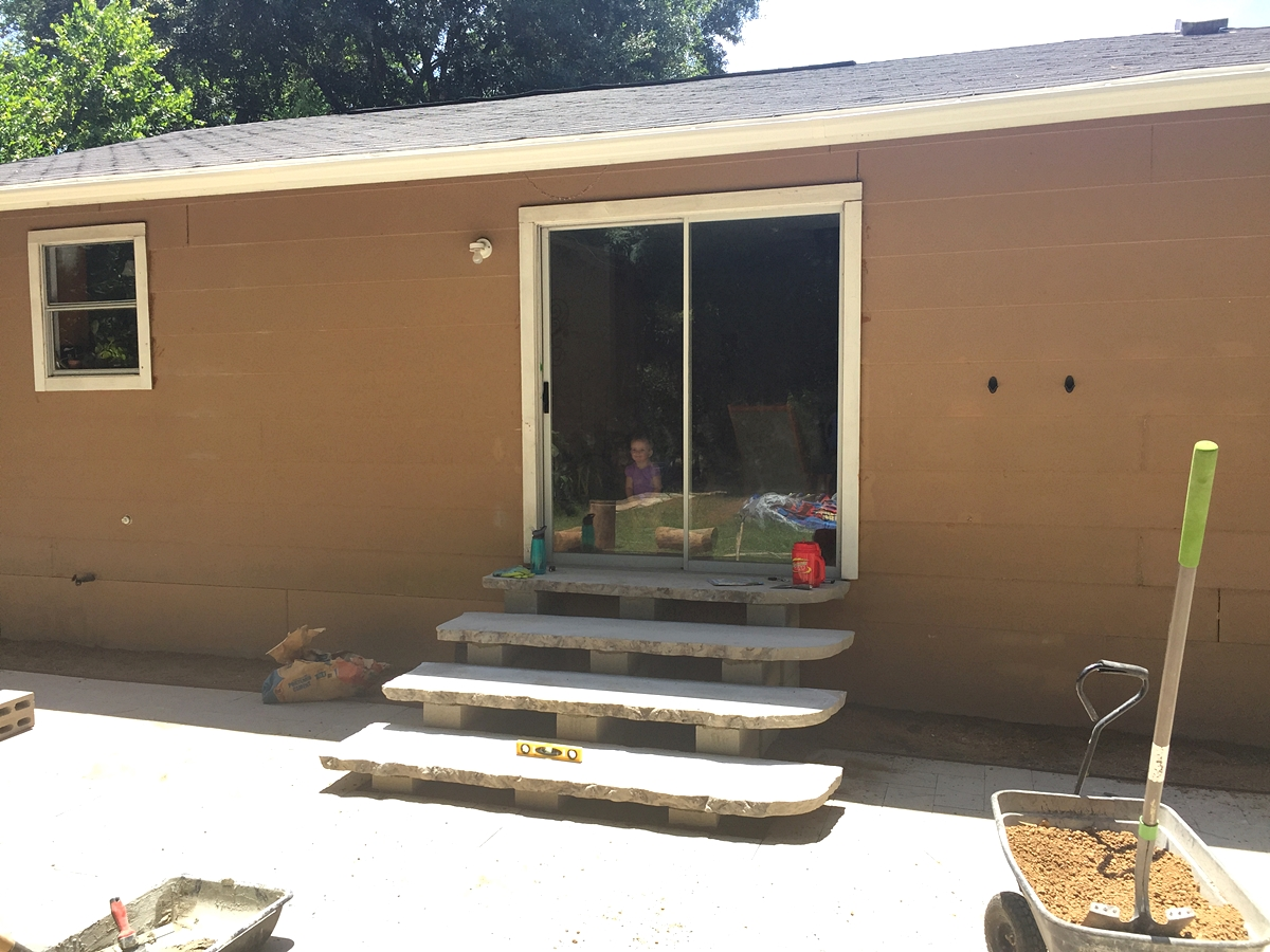 Add A Bit Of Mortar And Some Muscle And Install! Promptly Enjoy Them Too!  We Liked Having Steps For The Sliding Door, Finally! I Personally Love  Them. Iu0027m ...