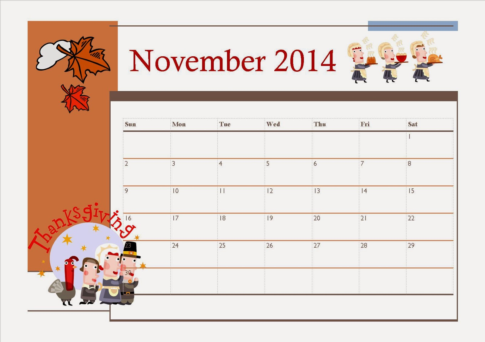 Free Printable Kids Calendar : Free printable november calendar for kids