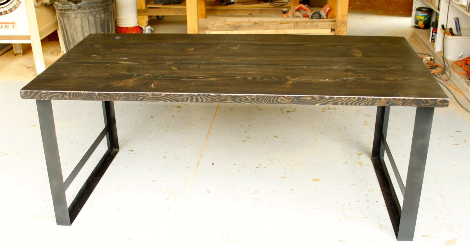 exchange reclaimed wood furniture ebony stained table w metal base