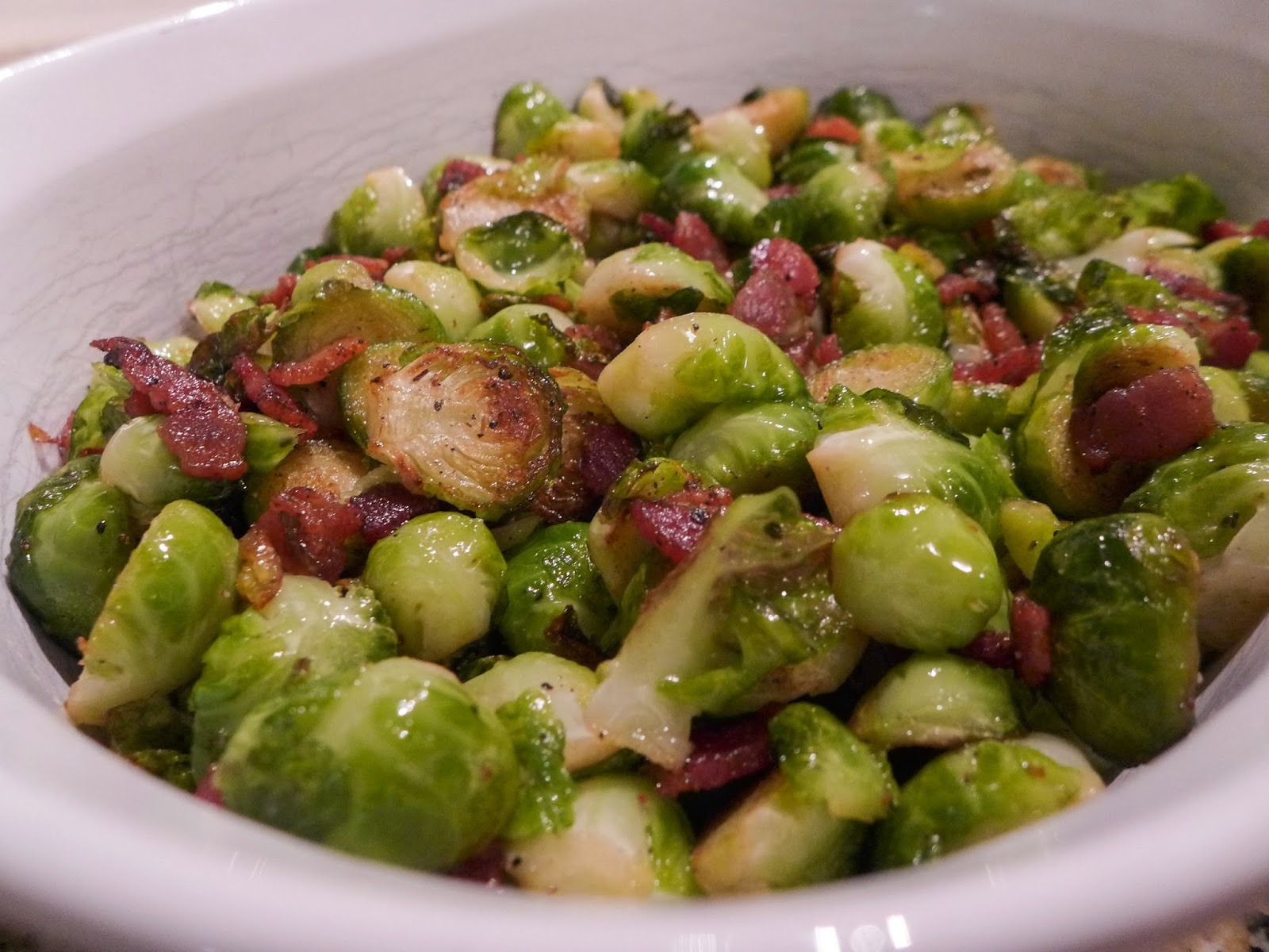 Sauteed Brussels Sprouts with Bacon (adapted from The English Kitchen ...