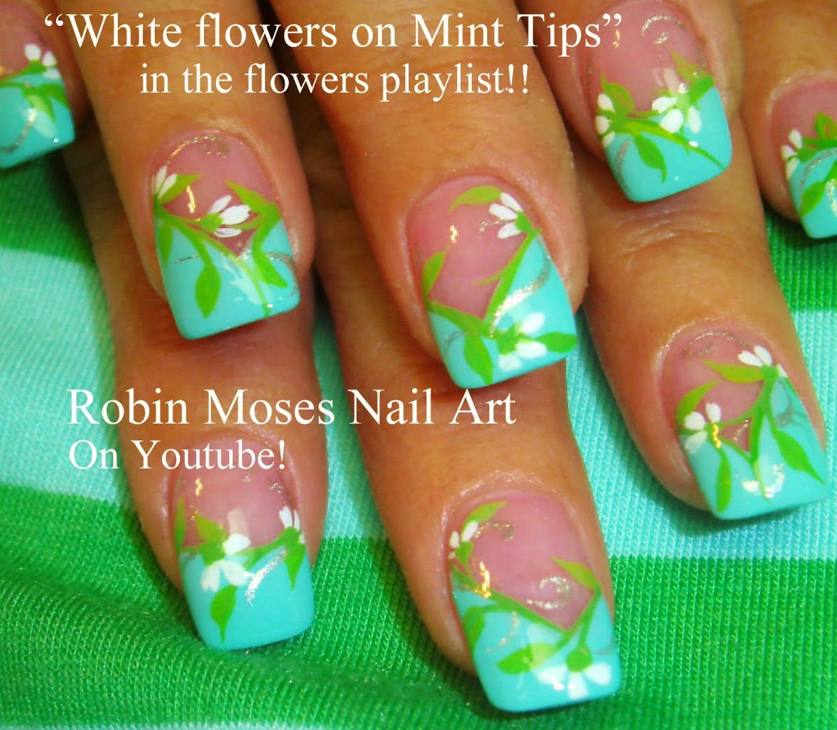 Easy Flower Nails Nail Art Wedding Ideas Mint Green Lime Blue Tip Seafoam Teal