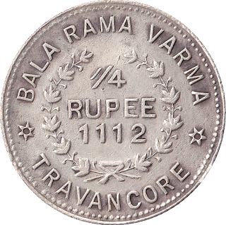 Travancore Quarter Rupee - Dextrally-coiled conch shell, Malayalam legend thiruvithamcore kaal roopa