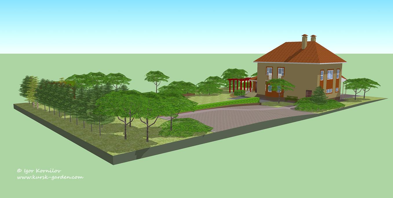 Ландшафтный проект, поселок Северный, Курск