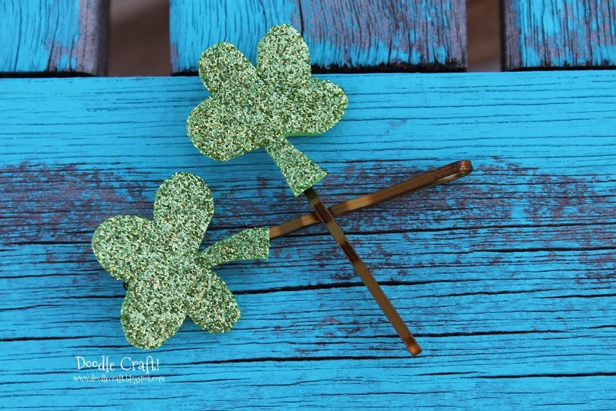 http://www.doodlecraftblog.com/2014/03/glitter-lucky-clover-shamrock-hairpins.html