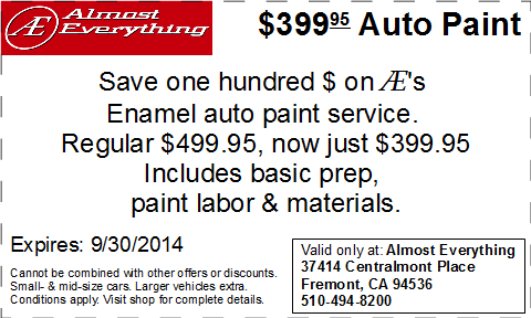 Coupon Almost Everything $399.95 Auto Paint Sale Septemter 2014
