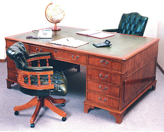 leather topped partners desk