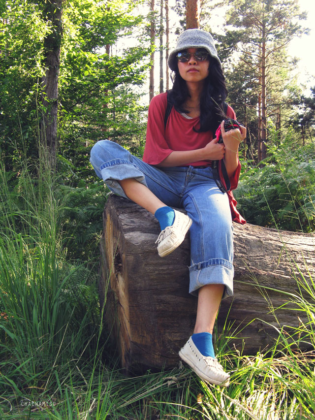 Chachamisu, personal style, fashion, outfit, looks, summer, casual, wandering, bat wings viscose top, Levi's skater jeans, LdiR Moka Avorio moccasins slippers, espadrilles, loafers, Firmoo glasses, Levi's cotton scarf, stripes tank, C&A ankle socks, Claire's sunglasses, wool hat   ,