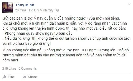 Chia sẻ của Thùy Minh trên trang cá nhân