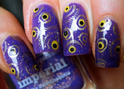 Picture Polish Imperial with stamping nail art