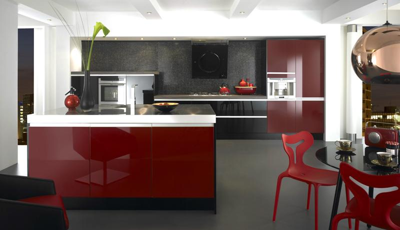 elegant modern red and white kitchen ideas 2016