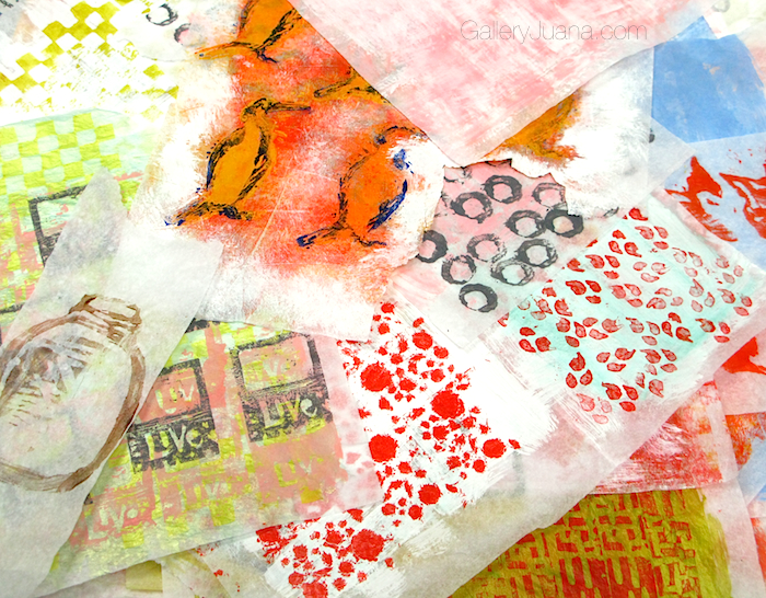 painted, stamped, stenciled sheets of tissue paper