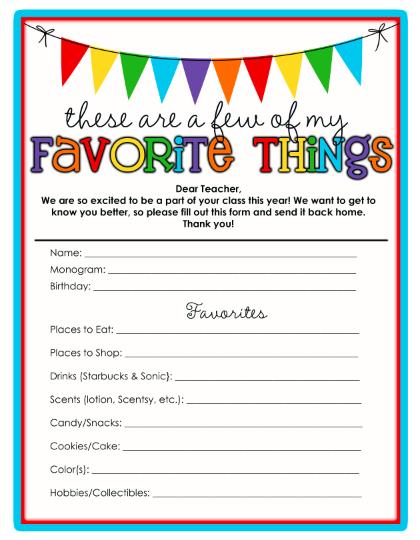 Life Sweet Life Teachers Favorite Things Template Printable – Free Printable Templates for Teachers
