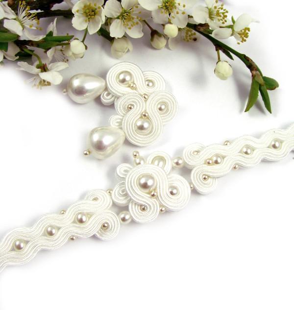 Sutasz ślubny z perłami komplet