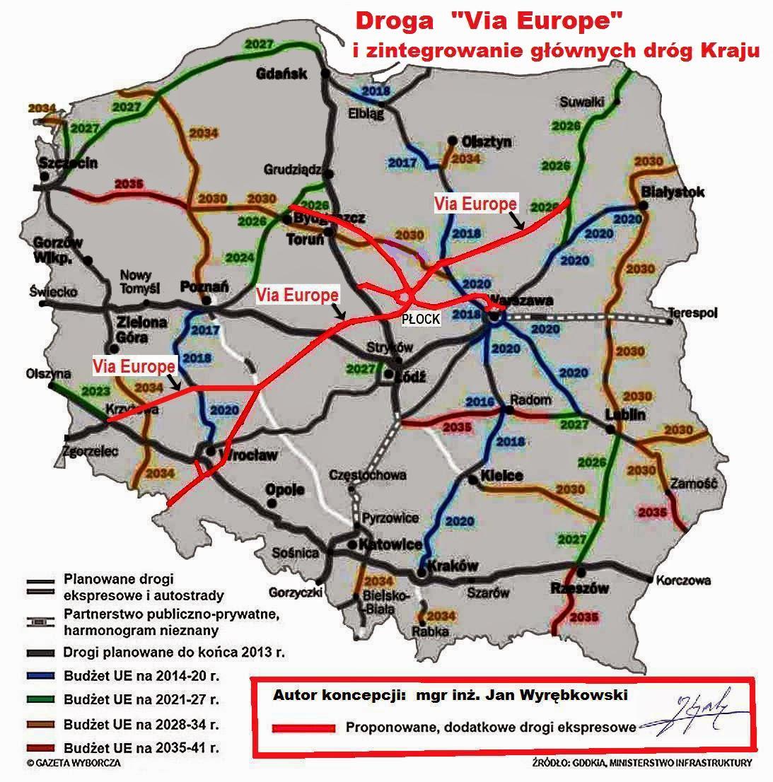 Koncepcja drogi Via Europe i integracji drogowej infrastruktury Polski