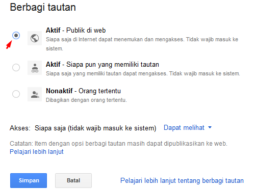 Publik di Web Google Drive