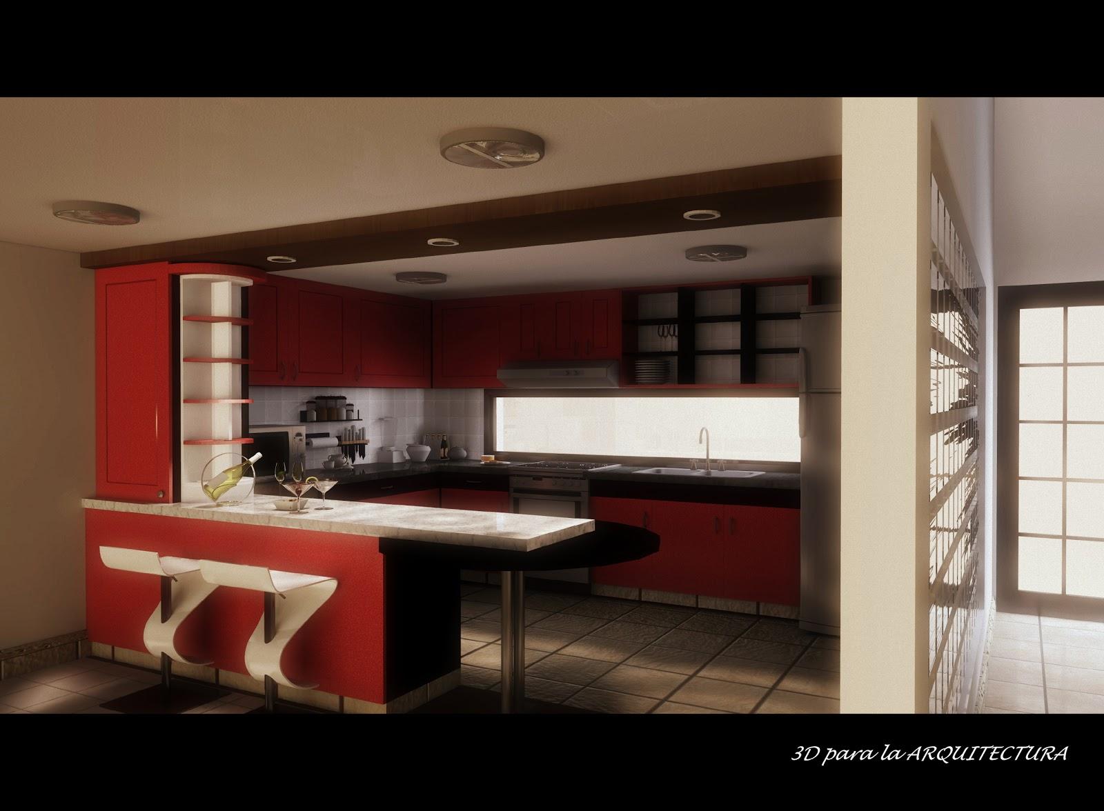 Cocina comedor de dise o contempor neo 3d render para la - Diseno de cocina 3d ...