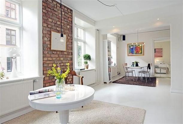 White glam brick walls design decorar com tijolo burro for Small apartment inspiration