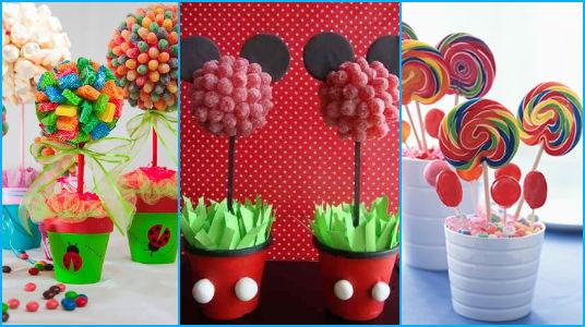 Ideas mesa de dulces - Como hacer centros de mesa con dulces para bautizo ...