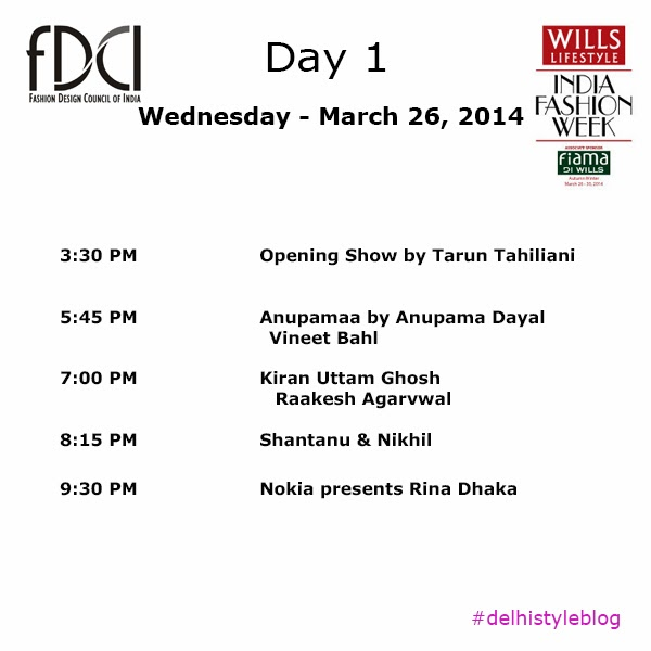 Wills Lifestyle India Fashion Week AW 14 Day 1 Schedule