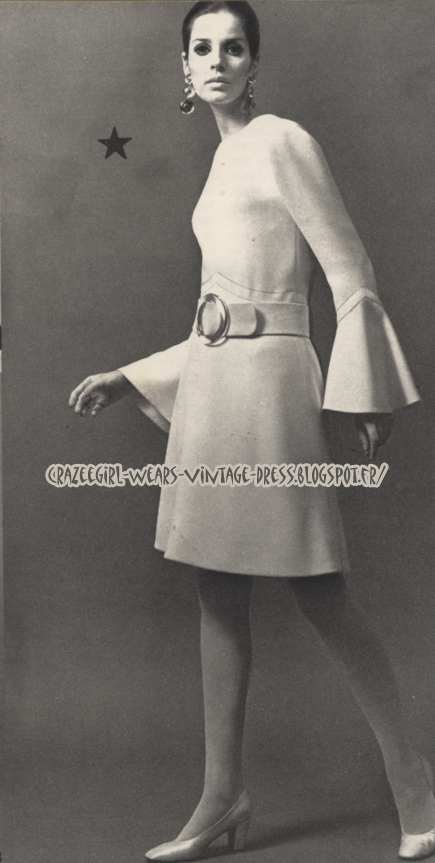 Christian Dior dress - 1967 - bell sleeves  60s 1960