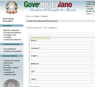 Segnala on line uno spreco il governo monti lancia for Sito governo italiano