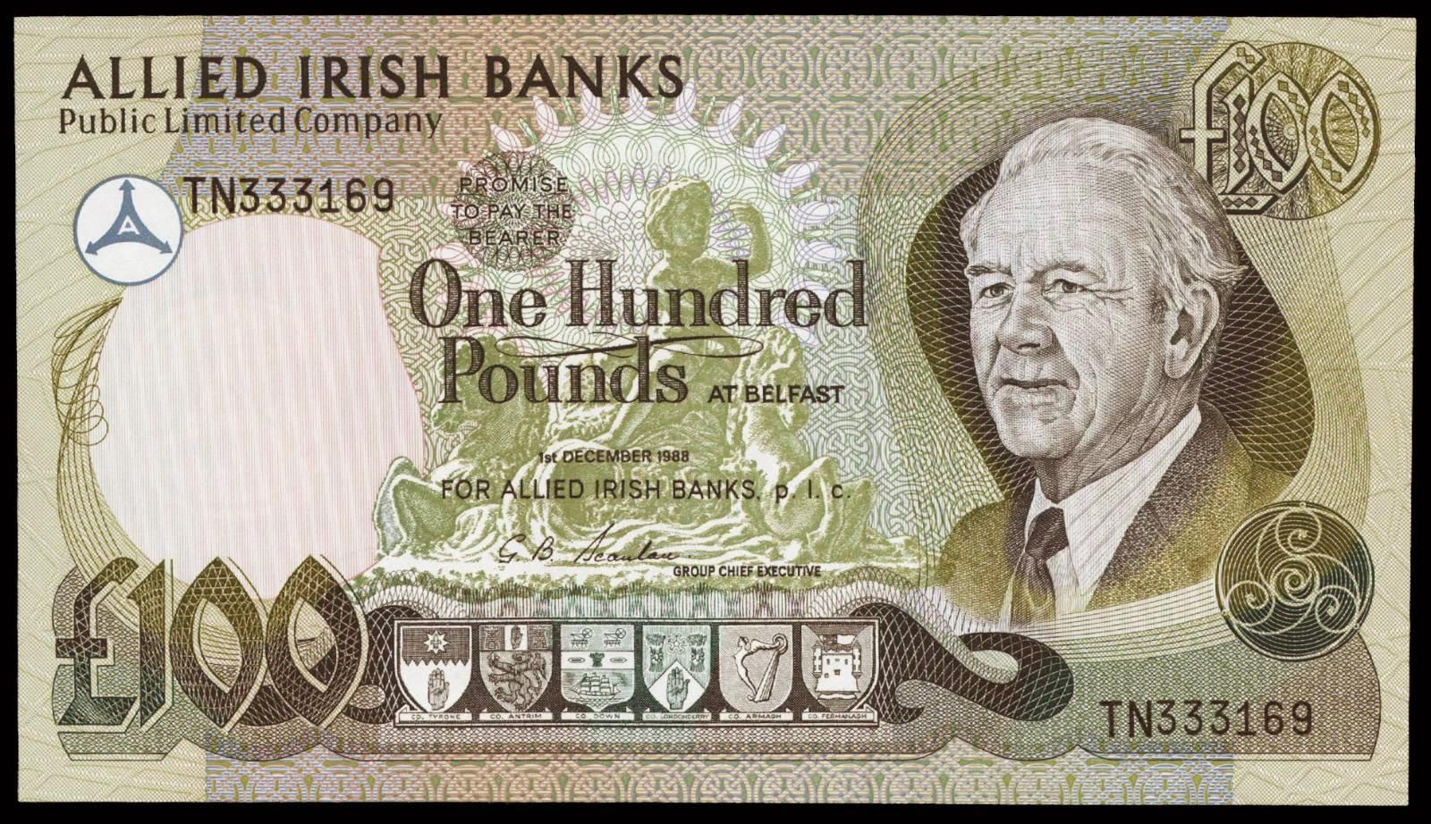 100 pound note 1988 allied irish banksworld banknotes