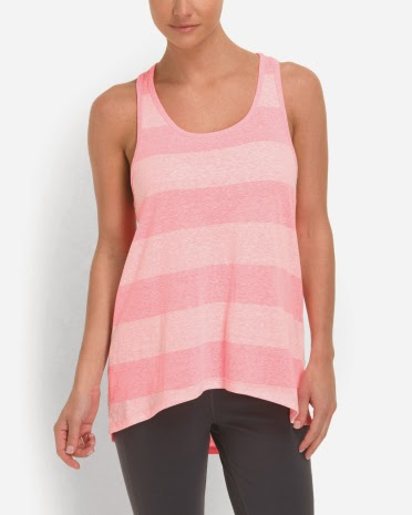 Style Athletics Tone on Tone Pink Striped Tank Top Balance Tech