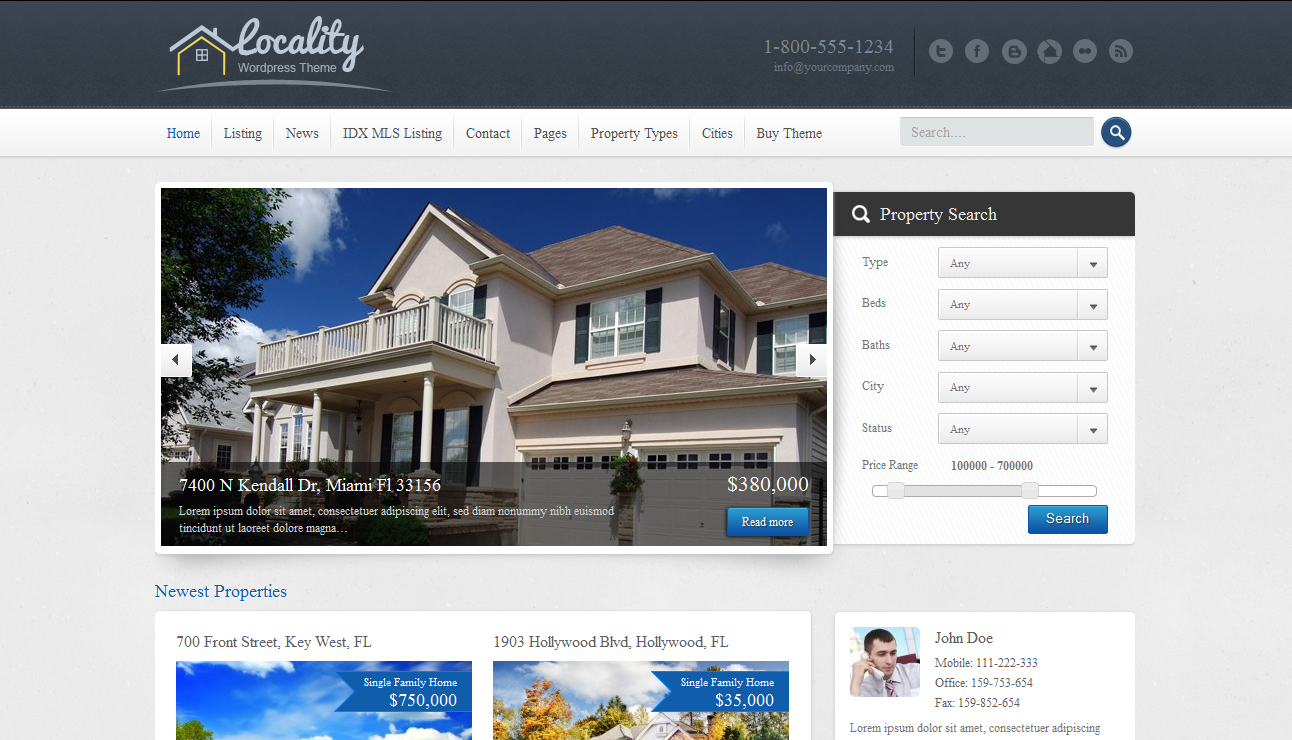 locality is an attractive and purpose oriented real estate wordpress theme with localisation support attractive design featured properties slider