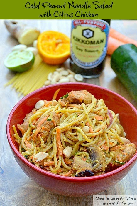 cold peanut noodle salad with citrus chicken