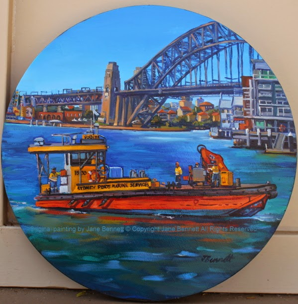 plein air oil painting of the 'Poolya' work boat near the Sydney Harbour Bridge by artist Jane Bennett