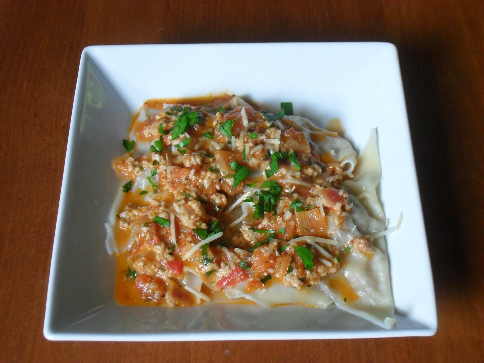 Easy Cheesy Beefy Ravioli with Chunky Vodka Sauce