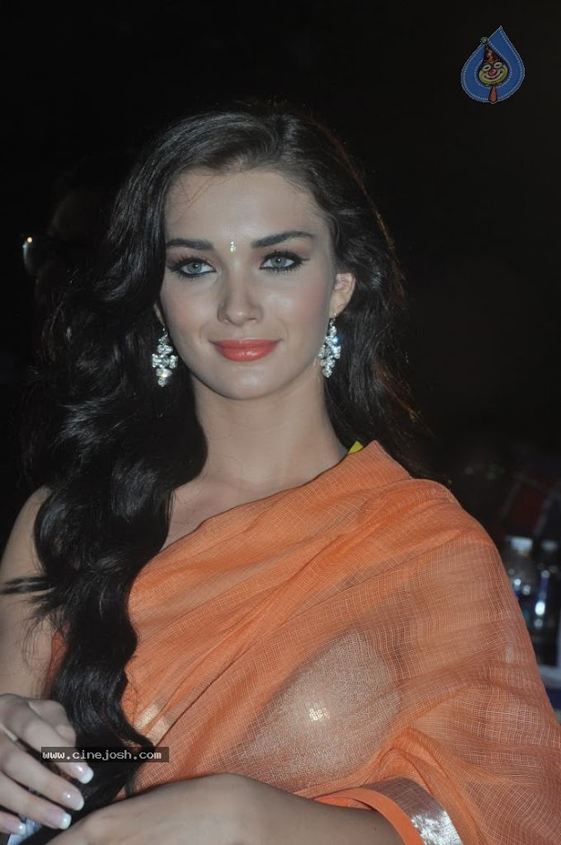 Amy Jackson in orange transparent saree -  Amy Jackson in Orange Transparent Saree at event