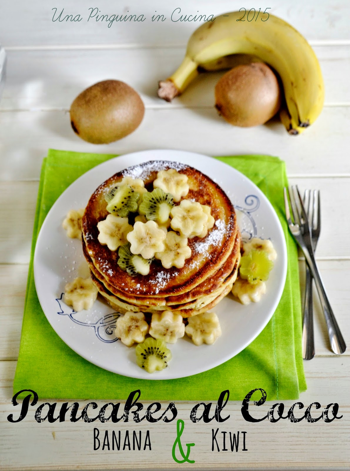 coconuts pancakes with bananas and kiwi