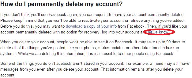 deletw my facebook account