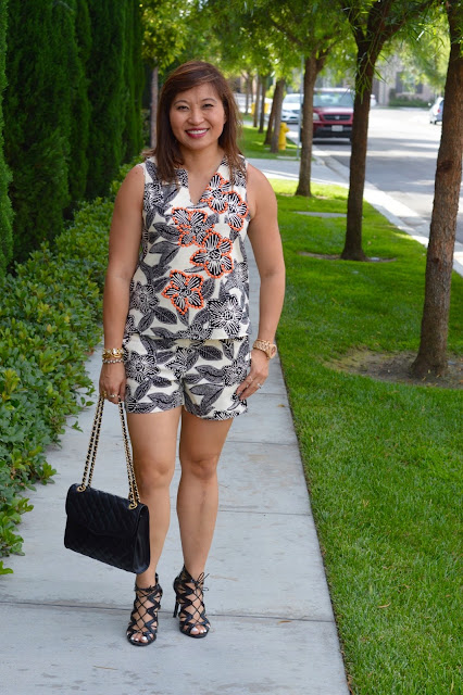 J Crew Polynesian Floral Top and shorts, Rebecca Minkoff Quilted Affair, over 40 Fashion, What to wear for GNO