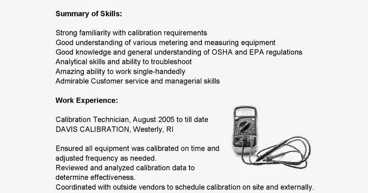 resume samples  calibration technician resume sample
